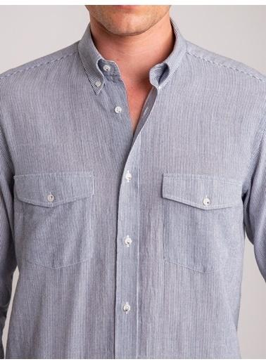Dufy Lacıvert Çızgılı Pamuk Lıkra Karışımlı Nefes Alabılen Erkek Gömlek - Regular Fıt Lacivert